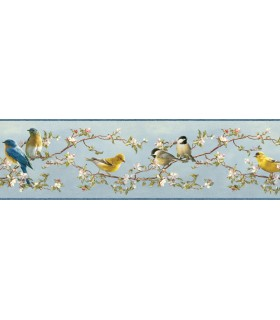 3118-48511B - Birch and Sparrow Wallpaper by Chesapeake-Songbird Floral Trail