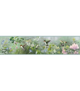 3118-48531B - Birch and Sparrow Wallpaper by Chesapeake-Ruby Garden Border