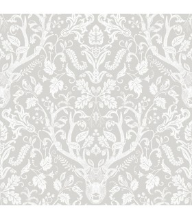 3118-12701 - Birch and Sparrow Wallpaper by Chesapeake-Kiwassa Antler Damask
