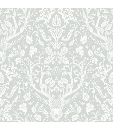3118-12702 - Birch and Sparrow Wallpaper by Chesapeake-Kiwassa Antler Damask