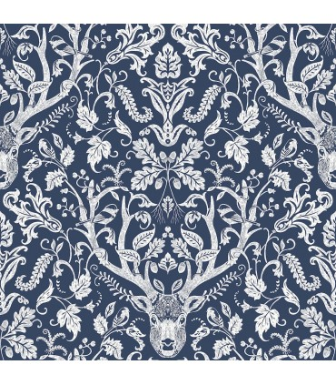3118-12703 - Birch and Sparrow Wallpaper by Chesapeake-Kiwassa Antler Damask