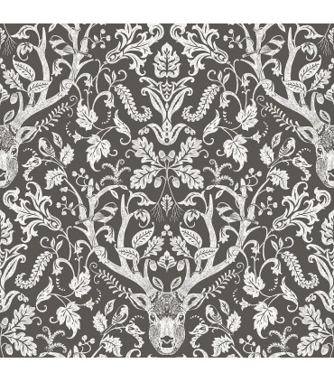 3118-12704 - Birch and Sparrow Wallpaper by Chesapeake-Kiwassa Antler Damask