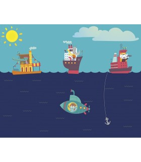 WALS0342 - Ohpopsi Wallpaper Mural-Nautical Adventures