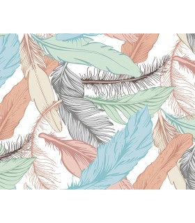 WALS0290 - Ohpopsi Wallpaper Mural-Pastel Feathers