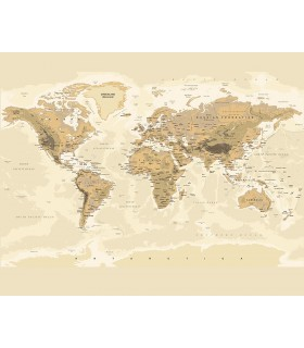 WALS0242 - Ohpopsi Wallpaper Mural-Sepia World Map
