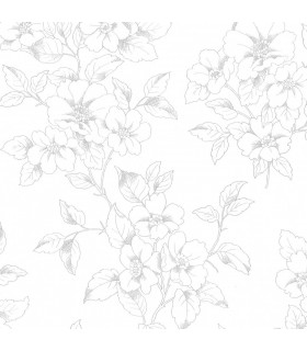 2836-801910 - Advantage Shades of Grey Wallpaper-Romeo Floral Trail