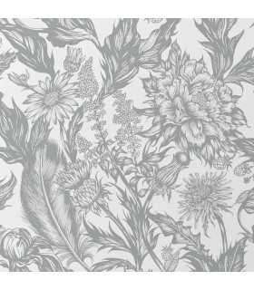2836-M1379 - Advantage Shades of Grey Wallpaper-Cina Wild Flowers