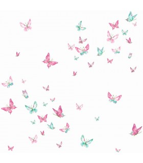 KI0523 - A Perfect World Wallpaper-Watercolor Butterfies