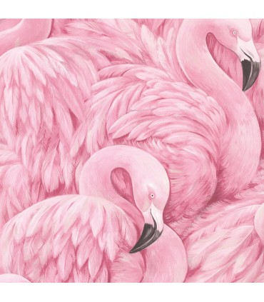 2814-803211 - Bath by Advantage Wallpaper-Horace Pink Flamingos