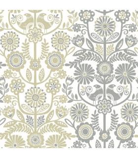 2821-25104 - Folklore Wallpaper by A Street Prints - Lovebirds Folk Stripe