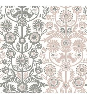 2821-25105 - Folklore Wallpaper by A Street Prints - Lovebirds Folk Stripe