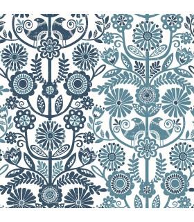 2821-25106 - Folklore Wallpaper by A Street Prints - Lovebirds Folk Stripe
