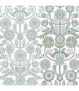 2821-25107 - Folklore Wallpaper by A Street Prints - Lovebirds Folk Stripe