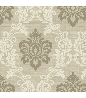 2765-BW40105 - GeoTex Wallpaper by Kenneth James-Adela Twill Damask