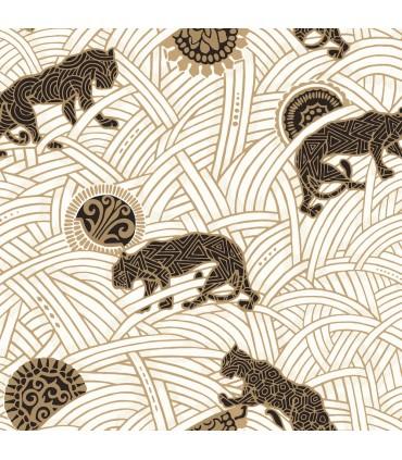 AF6549 - Tea Garden Wallpaper by Ronald Redding-Tibetan Tigers