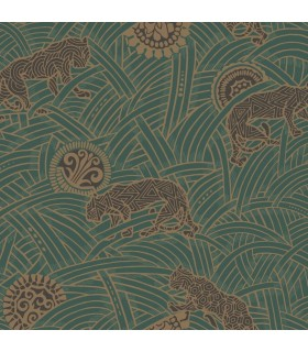AF6551 - Tea Garden Wallpaper by Ronald Redding-Tibetan Tigers