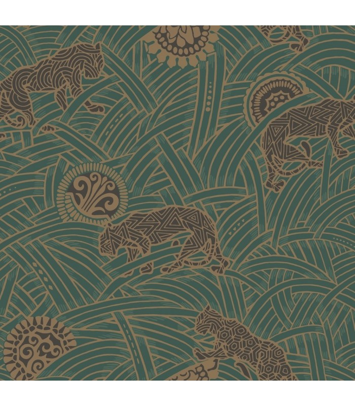 AF6551 - Tea Garden Wallpaper by Ronald Redding-Tibetan Tigers