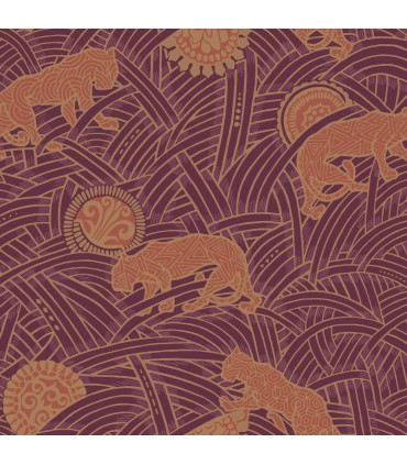 AF6552 - Tea Garden Wallpaper by Ronald Redding-Tibetan Tigers