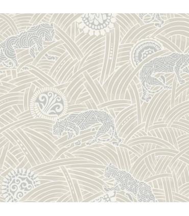 AF6553 - Tea Garden Wallpaper by Ronald Redding-Tibetan Tigers