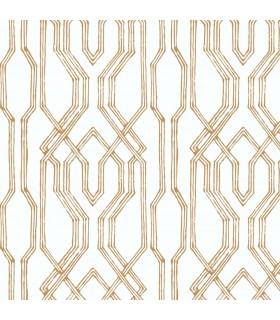 AF6560 - Tea Garden Wallpaper by Ronald Redding-Oriental Lattice