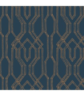 AF6561 - Tea Garden Wallpaper by Ronald Redding-Oriental Lattice