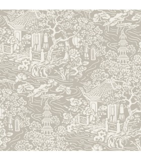 AF6574 - Tea Garden Wallpaper by Ronald Redding-Chinoiserie