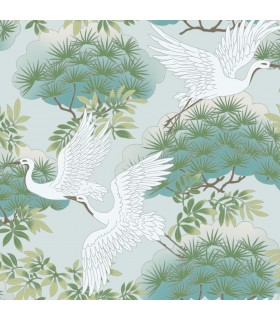 AF6589 - Tea Garden Wallpaper by Ronald Redding-Sprig and Heron