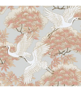 AF6590 - Tea Garden Wallpaper by Ronald Redding-Sprig and Heron