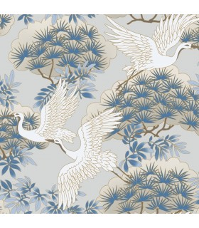 AF6591 - Tea Garden Wallpaper by Ronald Redding-Sprig and Heron