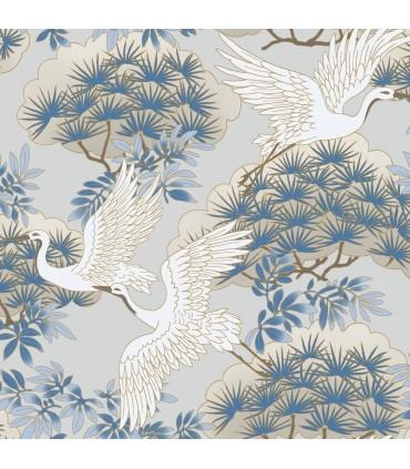 AF6591 - Tea Garden Wallpaper by Ronald Redding-Sprig and Heron