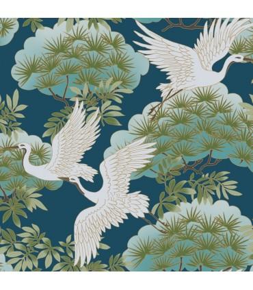 AF6592 - Tea Garden Wallpaper by Ronald Redding-Sprig and Heron