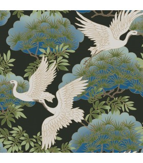 AF6593 - Tea Garden Wallpaper by Ronald Redding-Sprig and Heron