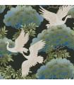 AF6593 - Tea Garden Wallpaper by Ronald Redding-Sprig and Heron