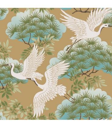AF6594 - Tea Garden Wallpaper by Ronald Redding-Sprig and Heron