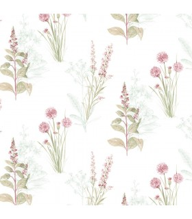 AB42442 - Flourish Wallpaper by Norwall-Painterly Flowers