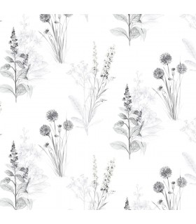 AB42443 - Flourish Wallpaper by Norwall-Painterly Flowers