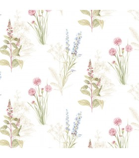 AB42445 - Flourish Wallpaper by Norwall-Painterly Flowers