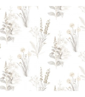AB42446 - Flourish Wallpaper by Norwall-Painterly Flowers