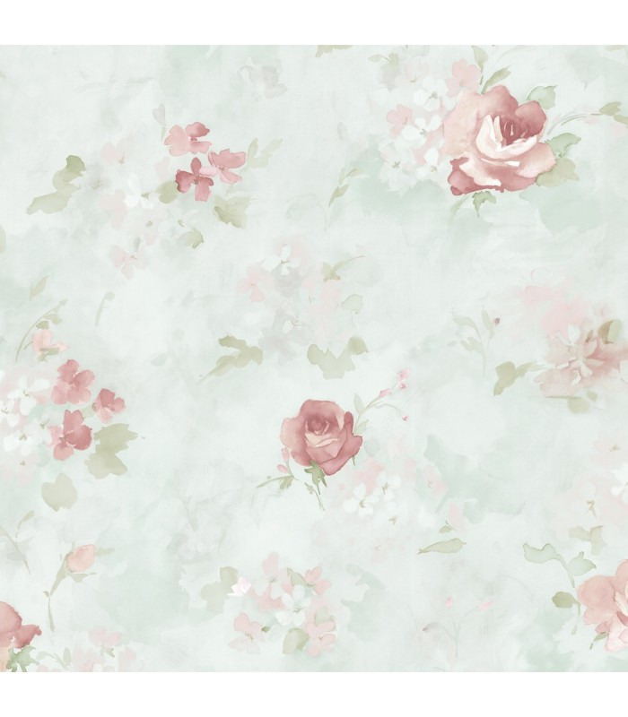 AB42417 - Flourish Wallpaper by Norwall-Watercolor Flowers