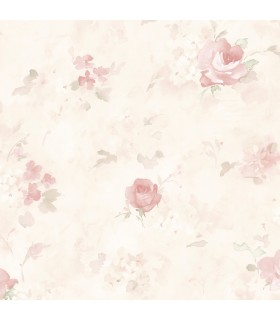 AB27661 - Flourish Wallpaper by Norwall-Watercolor Flowers