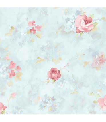 AB27662 - Flourish Wallpaper by Norwall-Watercolor Flowers