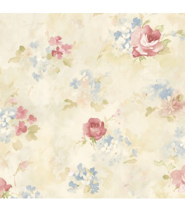 AB42418 - Flourish Wallpaper by Norwall-Watercolor Flowers
