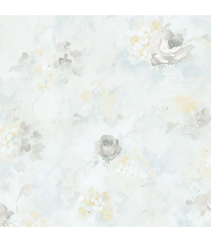 AF37709 - Flourish Wallpaper by Norwall-Watercolor Flowers