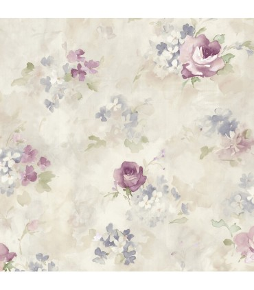 AF37710 - Flourish Wallpaper by Norwall-Watercolor Flowers
