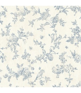 3119-02192 - Kindred Wallpaper by Chesapeake-French Nightingale Floral Scroll