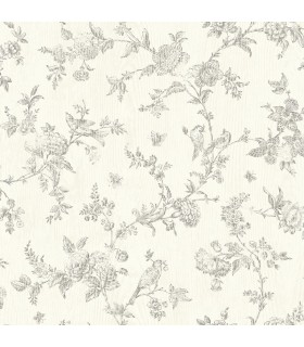 3119-02193 - Kindred Wallpaper by Chesapeake-French Nightingale Floral Scroll
