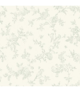 3119-02194 - Kindred Wallpaper by Chesapeake-French Nightingale Floral Scroll