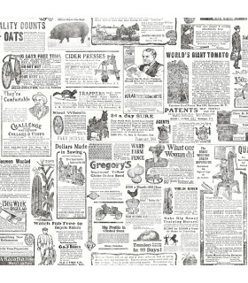 3119-13081 - Kindred Wallpaper by Chesapeake-Underwood Vintage Newspaper