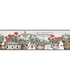 3119-13581B - Kindred Wallpaper by Chesapeake-Geranium Flower Pot Border