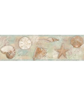 3120-46051B - Sanibel Sun Kissed Wallpaper by Chesapeake-Quinten Shells Border